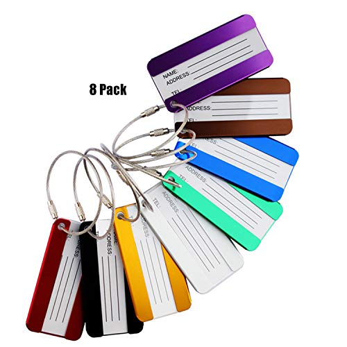 Aluminum Luggage Tags Holders, Labels Tag for Baggage Suitcases Bags, 8 Pack