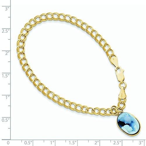 14 carats - 7 mm - 10 x 14 mm en Agate Bracelet avec inscription JewelryWeb