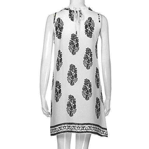 Aribelly V Cou Imprimé Mini-vacances Dames Robe Été Robe De Plage Féminin Blanc