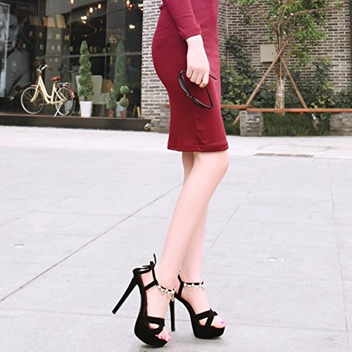 COOLCEPT Mujer Moda Criss Cross Al Tobillo Cadena Tacon De Aguja Vestir Sandalias Black Negro