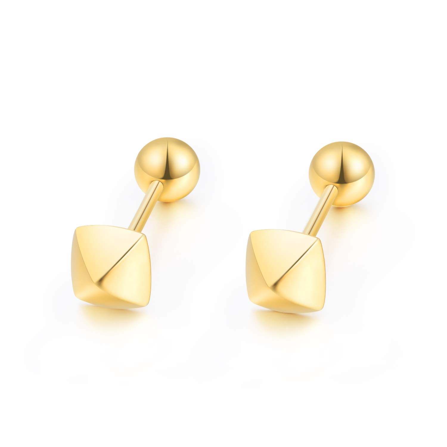 4262e9061 Amazon.com: 18k Yellow Gold Earrings for Girls Screw Back, Gold Square  Earrings, Solid Gold Ball Studs for Women, 5mm: Jewelry