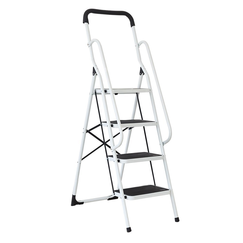 KARMAS PRODUCT Folding 4 Step Ladder with Handrails for Home,Anti-Slip Safty Steel Step Stool 300LB