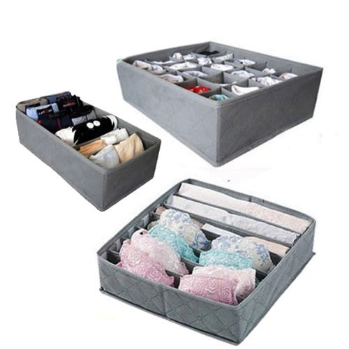 - 3 Pcs, 24-Cell, 7-Cell, 6-Cell Underwear Socks Ties Bra Drawer Organizer Storage Box,Bamboo Charcoal Abosrbs Moisture and Smell