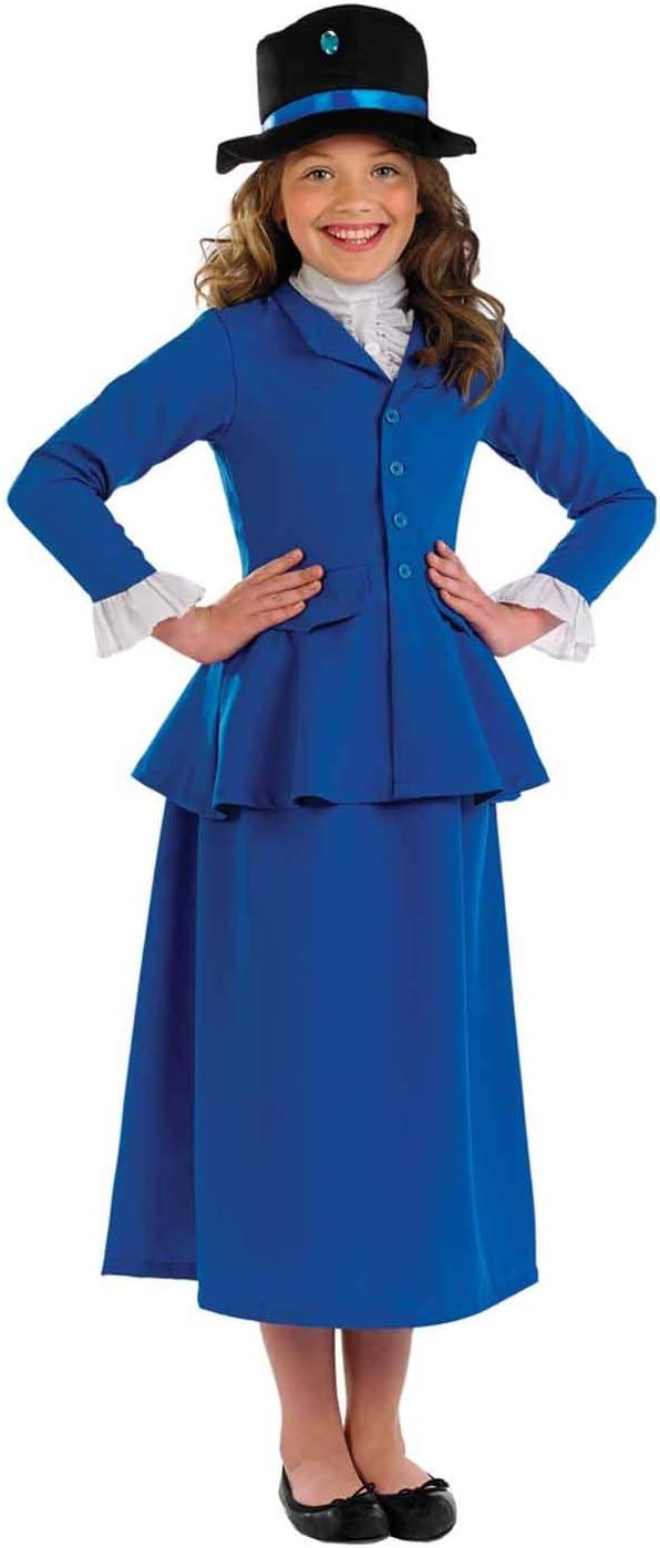 Fun Shack Azul Niñera Victoriana Disfraz para Niñas - XL: Amazon ...
