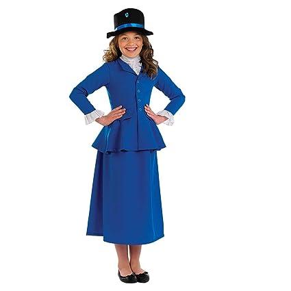 Fun Shack Azul Niñera Victoriana Disfraz para Niñas - XL