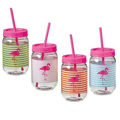 Hot Pink Flamingo Striped Plastic Reusable BPA Free Mason Jar Cups - 4 Pack, 22 oz.