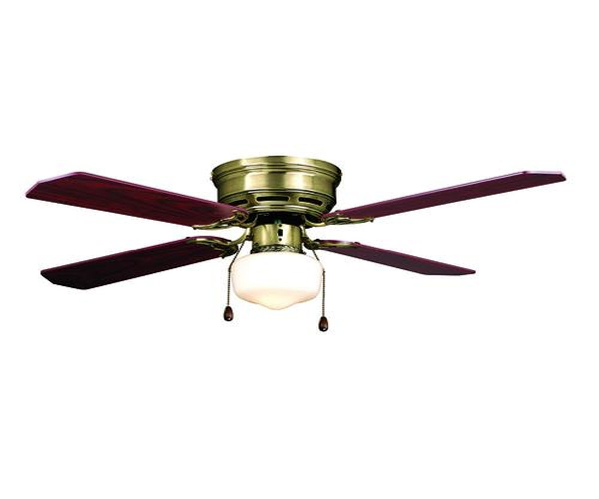 Fandelier Ceiling Fan with 4 Reversible Blades Flush Mount Style and Space Illuminator - Traditional, Antique Brass - 42'' W x 13'' H