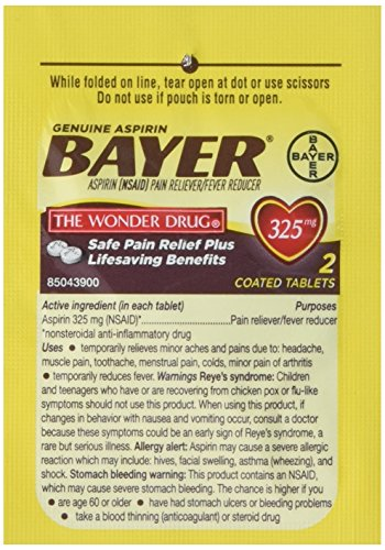 Genuine Bayer Aspirin 50/2s - 50 Packets of 2 ()