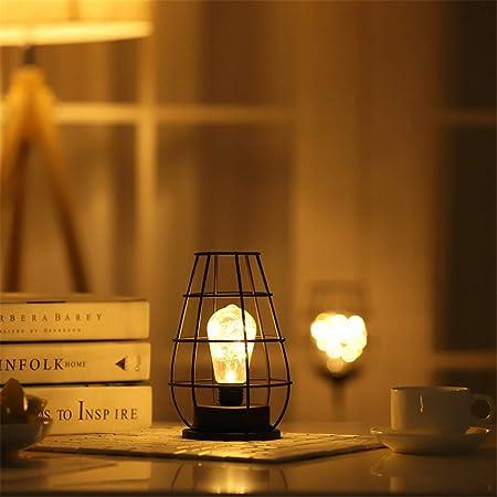 Eookall Lámpara de mesa vintage con botella de vino LED decorativa de malla de metal hueco para mesilla de noche funciona con pilas, luces de alambre de hierro, B: Amazon.es: Hogar