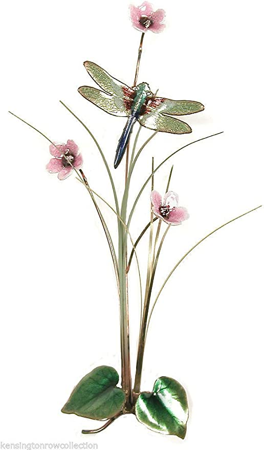 WALL ART DRAGONFLY AND PINK FLOWERS METAL WALL SCULPTURE WALL DECOR