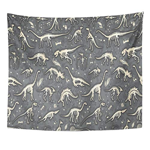 (Semtomn Tapestry Silhouettes Dino Skeletons Dinosaurs Fossils Realistic Sketch Collection Home Decor Wall Hanging for Living Room Bedroom Dorm 50x60 Inches)
