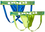 Papi Men's 2-Pack Microfusion Performance Jock Strap, Green/Blue, Medium