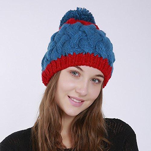 De Chapeau Pompon Bonnet À Fil Bleu Tricot En Acvip Laine style Femme Hiver Tresser Automne 1 8YwfxtS