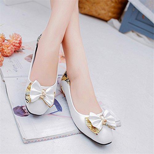 LIVY 2017 zapatos de primavera y verano arquean los zapatos grandes yardas femenino de los estudios zapatos zapatos casuales cabeza cuadrada cuatro estaciones Blanco