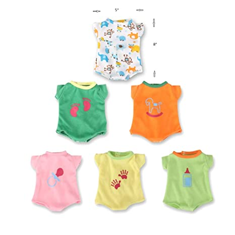 99de61e5d968b WakaoFeeling 6 Pack Fun Outfits Baby Doll Clothes for Baby 12 Inch Alive  Doll(Small