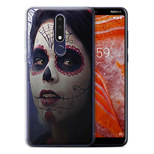 eSwish Gel TPU Phone Case/Cover for Nokia 3.1 Plus 2018 / Halloween Makeup Design/Day of The Dead Festival Collection