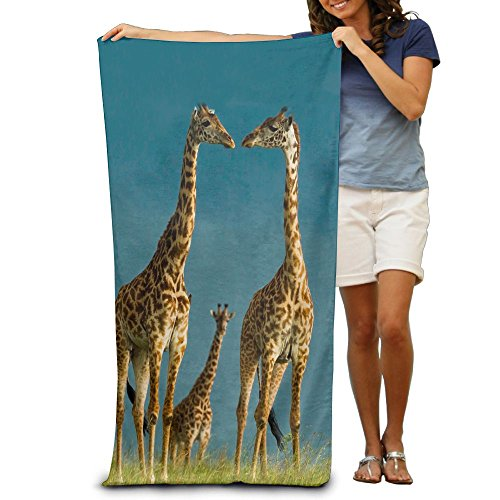 Giraffe Shower Flower Blue (Giraffe Large Animal King Large Beach Towel Pool Towels)