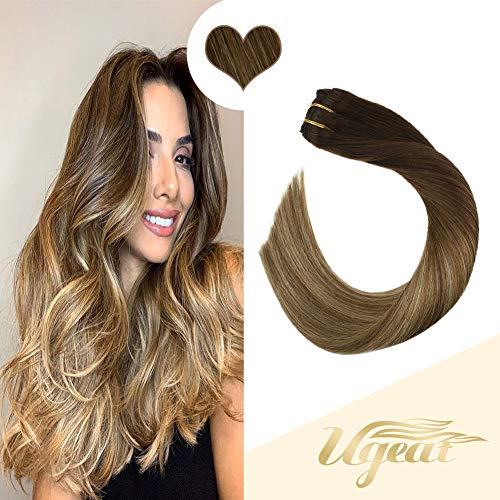 Ugeat 14 Inch Hair Extensions Clip in Human Hair 10PCS Balayage Color Dark Brown to Medium Brown with Golden Blonde 120g Double Weft Clip in Hair Extensions