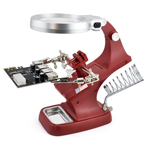 OLLGEN 10 LED Lighting 3X Main Lens 4.5X Accessorial Lens White Auxiliary Alligator Clip Magnifier Third Helping Hands Soldering Solder Iron Stand (Red)