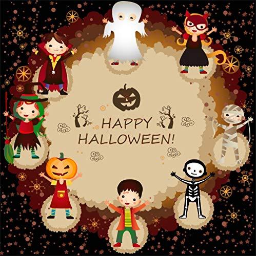 Leyiyi 5x5ft Cartoon Happy Halloween Backdrop Glitter Sequins Starry Sky Witch Girl Ghost Pumpkin Lantern Skull Vampire Photography Background Scary Carnival Night Photo Studio Prop Vinyl ()