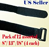 12 Assorted 8'' 13'' 18'' Black Hook and Loop Fastener Cable Tie Down Straps Reusable Cord Hook & Loop Cord Cable Speaker Power Cord Straps Tie Down Velcro Type