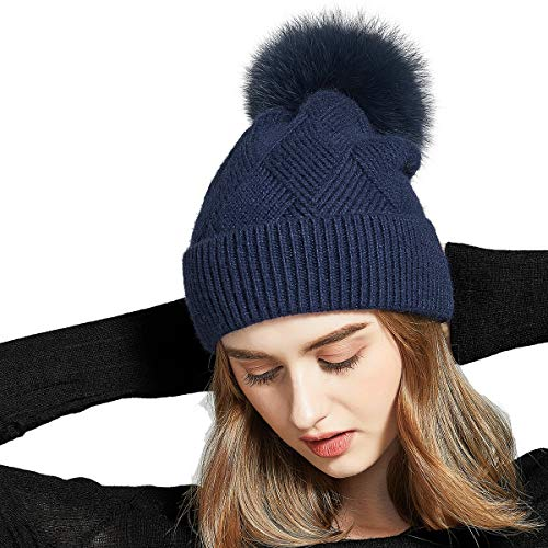 SOMALER Womens Winter Hats Real Fur Pom pom Hat Knitted Slouchy Beanie 16 Colors