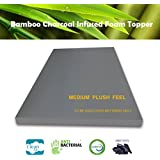 3 Inch Bamboo Charcoal Foam Mattress Topper QUEEN Plush Feel Ventilated for Optimum Temperature Certipur-US Certified 3- Year Warranty