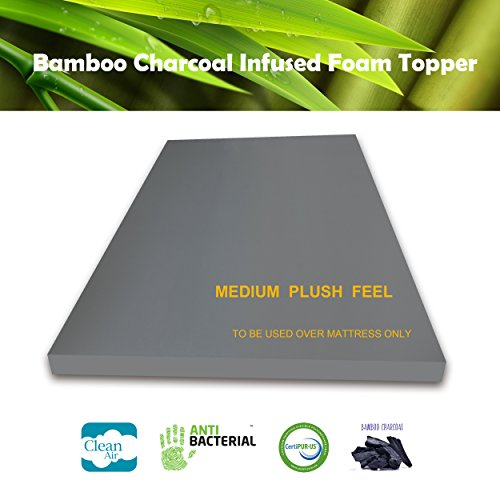 3 Inch Bamboo Charcoal Foam Mattress Topper CA KING Plush Feel Ventilated for Optimum Temperature Certipur-US Certified 3- Year Warranty