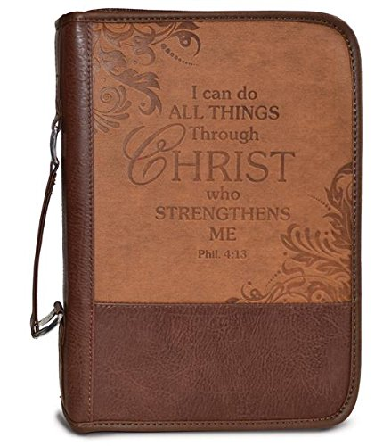 Custom Cover Pocket - Divinity Boutique Heat Stamp Brown - I Can, Phil 4:13 XL Bible Cover