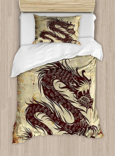Japanese Dragon Bedding Set for Kids Queen Size, Antique Paper Style Grunge Backdrop with Old Asian Magical Figure, Soft Lightweight Duvet Cover Set, 1 Duvet Cover 1 Flat Sheet and 2 Pillow Cases ()