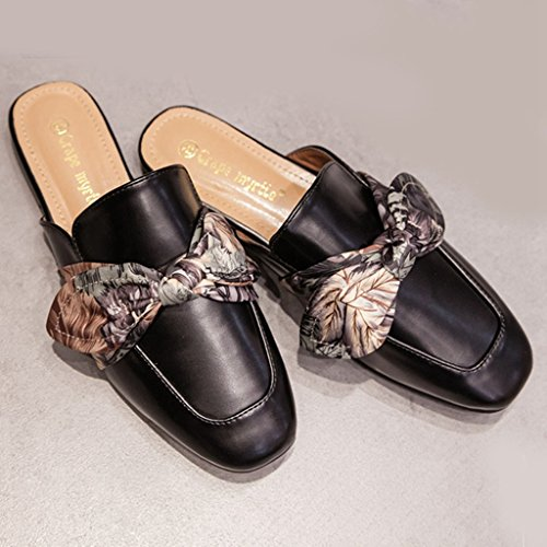 Slide Mules On Low Loafers Toe Backless Heels Round GIY Shoes Clogs Women Slip Flats Black Slipper 5qnSz74