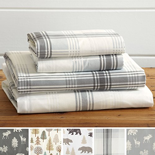 Plaid Sheet Fitted - Great Bay Home 4-Piece Lodge Printed Ultra-Soft Microfiber Sheet Set. Beautiful Patterns Drawn from Nature, Comfortable, All-Season Bed Sheets. (Queen, Plaid)