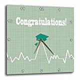 3dRose Beverly Turner Graduation Design - Heart Beat with Grad Cap on Graph Paper, Medical Theme, Green - 13x13 Wall Clock (dpp_262858_2)