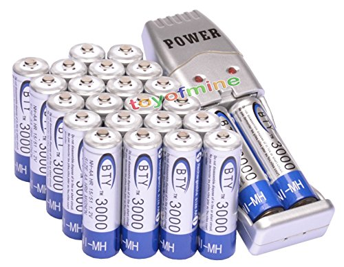 24x 2A AA 3000mAh 1.2 V Ni-MH BTY Rechargeable Battery Cell + AA/AAA USB Charger