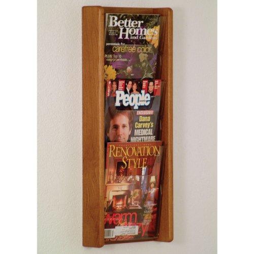 DMD Literature Display, 3 Pocket, Solid Oak and Acrylic Wall Mount Rack, Medium Oak Wood Finish