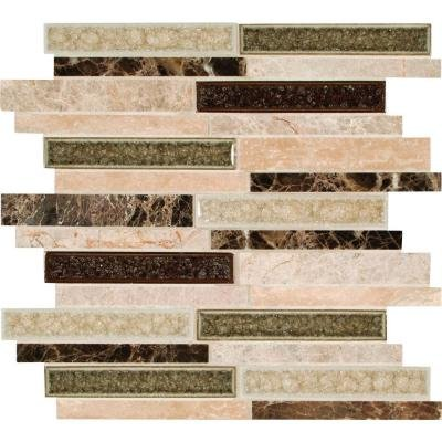 MS International Stonegate Interlocking 12 in. x 12 in. Glass/Stone Blend Mesh-Mounted Mosaic Wall Tile - Box of 5 -