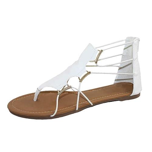 074ec100998bb Sandalias Mujer Verano 2019 Logobeing Moda Mujer Verano Retro Ronda Toe  Zapatos de Plataforma Plana Sandalias