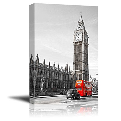 Pop of Color the Red Bus in London by the Big Ben Red Color Stands out against Black and White Background