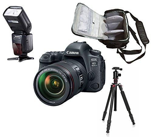 6D Mark II DSLR Camera + EF 24-105mm f4L IS II USM lens + KamKorda Pro Camera Bag + Advanced Camera Tripod + Speedlite…