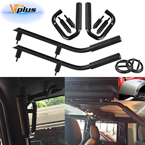 Vplus (Pack of 3) Black Front & Rear Roll Bar Grip Handle Grab Handles + Fender Flare Side Marker Guard Cover Protectors for 2007-2017 Jeep Wrangler