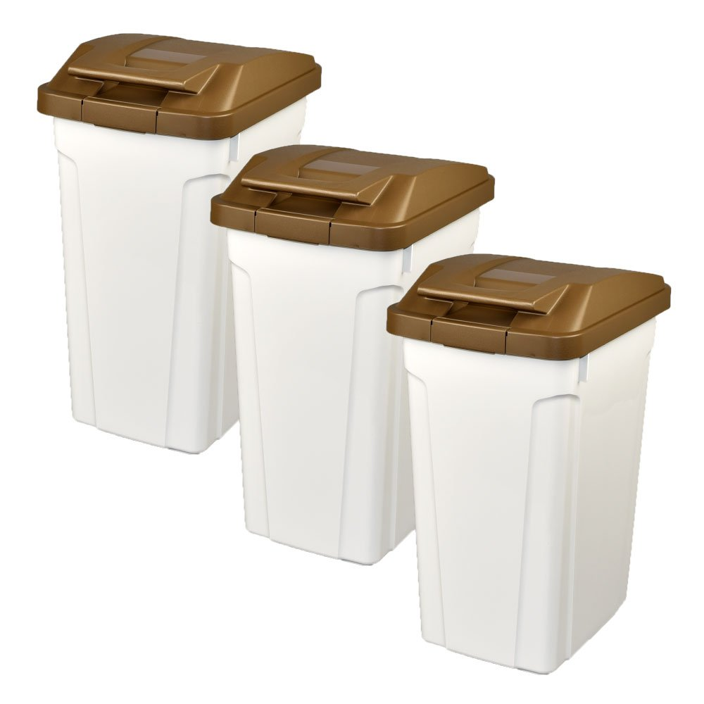 ASVEL ハンドルペール 35L 3個セット ゴミ箱 ごみ箱 ダストボックス おしゃれ ふた付き アスベル (ブラウン×ブラウン×ブラウン) B0747539DL ブラウン×ブラウン×ブラウン ブラウン×ブラウン×ブラウン