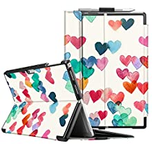 Fintie Case for Microsoft Surface Pro 7 Compatible with Surface Pro 6 / Surface Pro 5 / Surface Pro 4 12.3 Inch Tablet, Hard Shell Slim Portfolio Cover Work with Type Cover Keyboard (Raining Hearts)