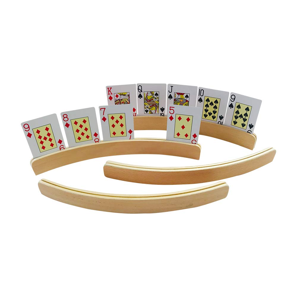 YH Poker 14 Inch Wooden Playing Card Holders, Set of 4 by YH Poker