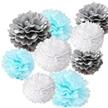 Fonder Mols 9pcs Mixed Sizes 8'' 10'' 14'' Tissue Paper Pom Poms Flower Wedding Party Baby Girl Room Nursery Decoration (White / Baby Blue / Gray)