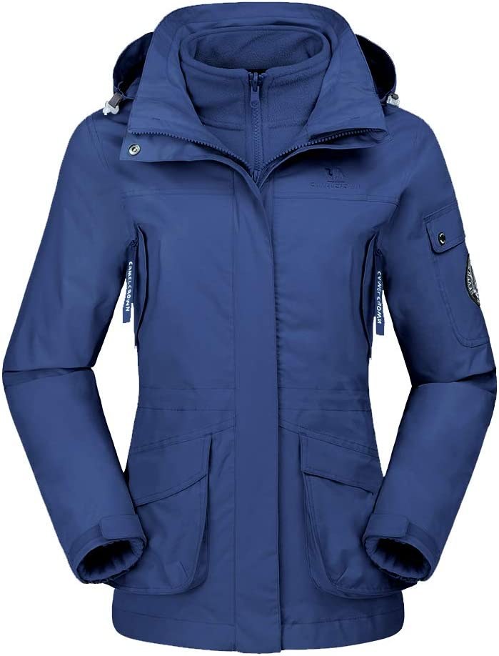 CAMEL CROWN Damen Ski 3-in-1-Jacke 2 St/ück Outdoor Wasserdicht Winddicht Fleece Innen Kapuzenmantel