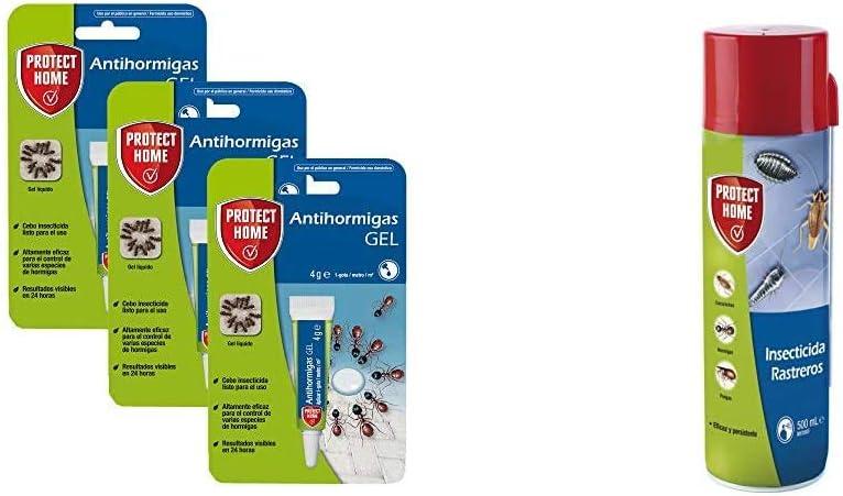 Protect Home Antihormigas cebo en gel contra hormigas + Home Insecticida Blattanex, Uso Doméstico de Acción Inmediata contra Cucarachas, Hormigas E Insectos Rastreros, Verde Agua, 6.5x6.3x24 cm