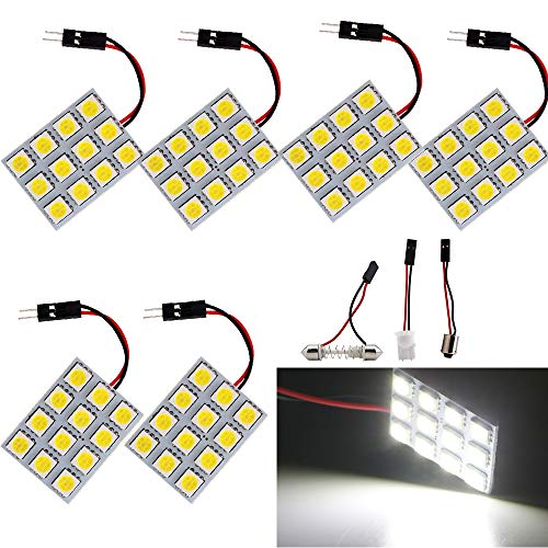 EverBright 6-Pack LED Panel Dome Light Super White 3th Generation Energy-saving 5050 12-SMD Auto Car Interior Reading Plate Lamp Roof Ceiling Interior Bulb With T10 BA9S Festoon Adapters (DC-12V)