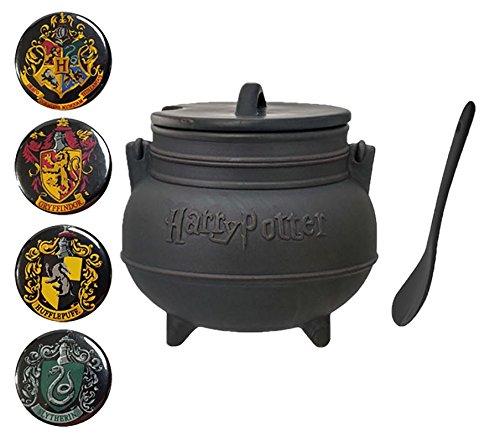 (Harry Potter Black Cauldron Ceramic Soup Mug with Spoon and Set of 4 Collectible Crest Buttons)