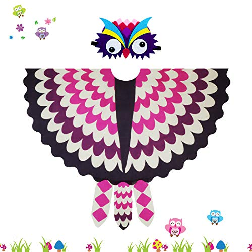 Kids Fairy Owl Costume Bird Wings Feathered with Mask - Boys Girls Animal Dress-up Cosplay Cape (#6 Rose-White) -
