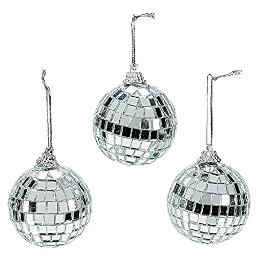 fun express silver mirrored disco ball christmas ornaments 12 pieces - Modern Christmas Ornaments